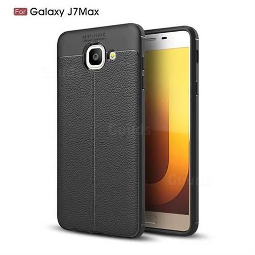 Luxury Auto Focus Litchi Texture Silicone TPU Back Cover for Samsung Galaxy J7 Max G615F - Black