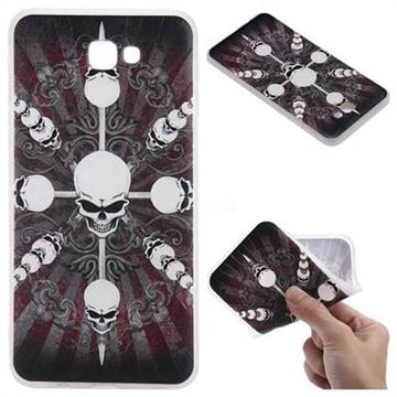 Compass Skulls 3D Relief Matte Soft TPU Back Cover for Samsung Galaxy J7 Prime G610
