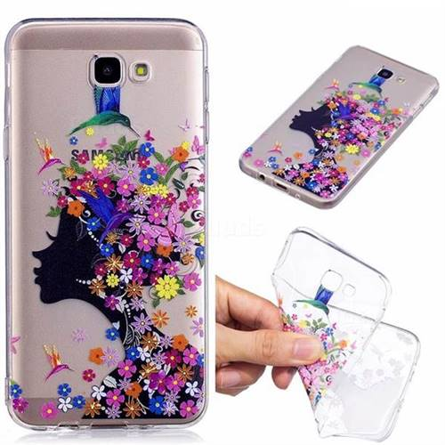 new product a3e54 4e67a Floral Bird Girl Super Clear Soft TPU Back Cover for Samsung Galaxy J7  Prime G610