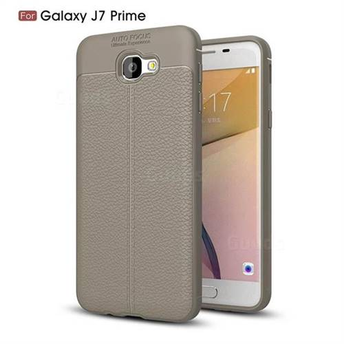 Luxury Auto Focus Litchi Texture Silicone TPU Back Cover for Samsung Galaxy J7 Prime G610 - Gray