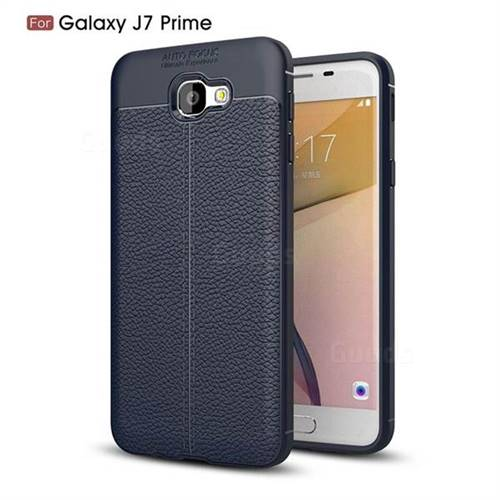 Luxury Auto Focus Litchi Texture Silicone TPU Back Cover for Samsung Galaxy J7 Prime G610 - Dark Blue