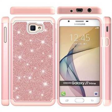 sports shoes 617d1 c8587 Glitter Rhinestone Bling Shock Absorbing Hybrid Defender Rugged Phone Case  Cover for Samsung Galaxy J7 Prime G610 - Rose Gold