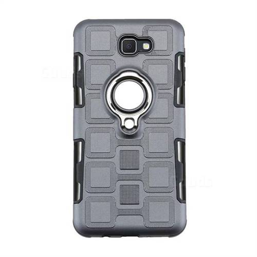 newest 85252 4a812 Ice Cube Shockproof PC + Silicon Invisible Ring Holder Phone Case for  Samsung Galaxy J7 Prime G610 - Gray