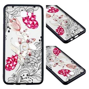 Tulip Lace Diamond Flower Soft TPU Back Cover for Samsung Galaxy J7 Prime G610