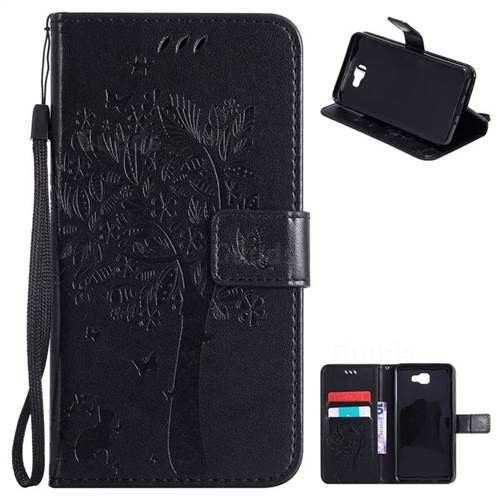 Embossing Butterfly Tree Leather Wallet Case for Samsung Galaxy J7 Prime G610 - Black