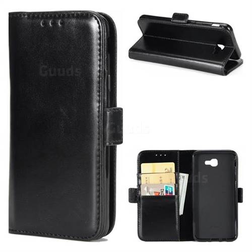 Luxury Crazy Horse PU Leather Wallet Case for Samsung Galaxy J7 Prime G610 - Black