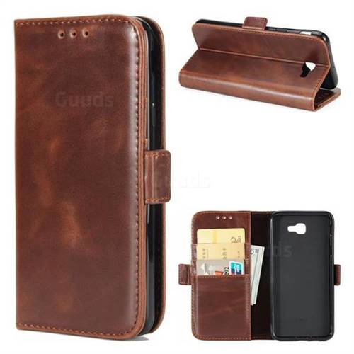 Luxury Crazy Horse PU Leather Wallet Case for Samsung Galaxy J7 Prime G610 - Coffee