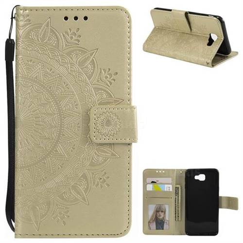 Intricate Embossing Datura Leather Wallet Case for Samsung Galaxy J7 Prime G610 - Golden