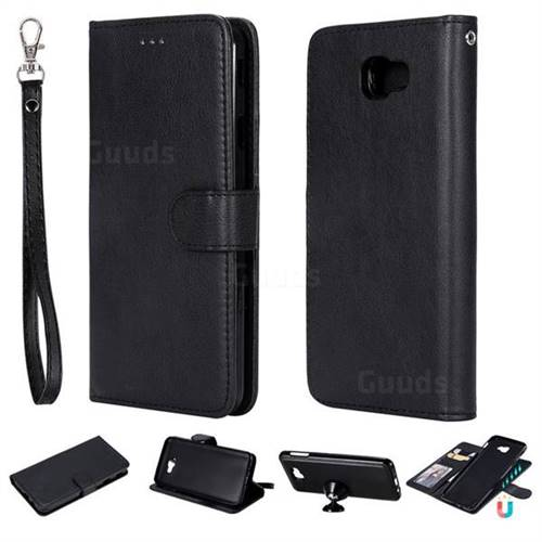 Retro Greek Detachable Magnetic PU Leather Wallet Phone Case for Samsung Galaxy J7 Prime G610 - Black