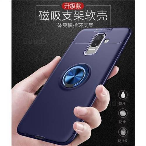 super popular 80d82 b3581 Auto Focus Invisible Ring Holder Soft Phone Case for Samsung Galaxy J8 -  Blue