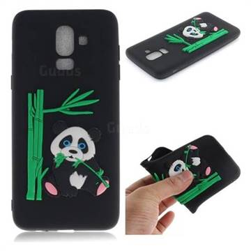 Panda Eating Bamboo Soft 3D Silicone Case for Samsung Galaxy J8 - Black