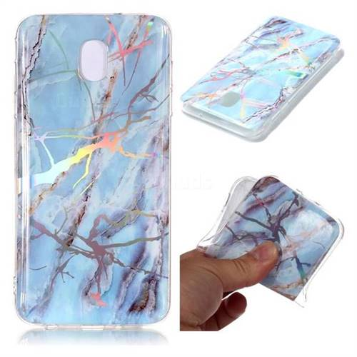 Light Blue Marble Pattern Bright Color Laser Soft TPU Case for Samsung Galaxy J8