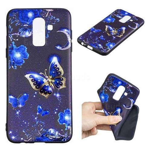 Phnom Penh Butterfly 3D Embossed Relief Black TPU Cell Phone Back Cover for Samsung Galaxy J8