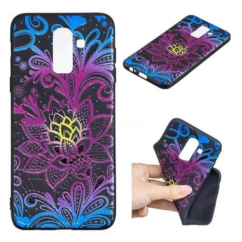 Colorful Lace 3D Embossed Relief Black TPU Cell Phone Back Cover for Samsung Galaxy J8