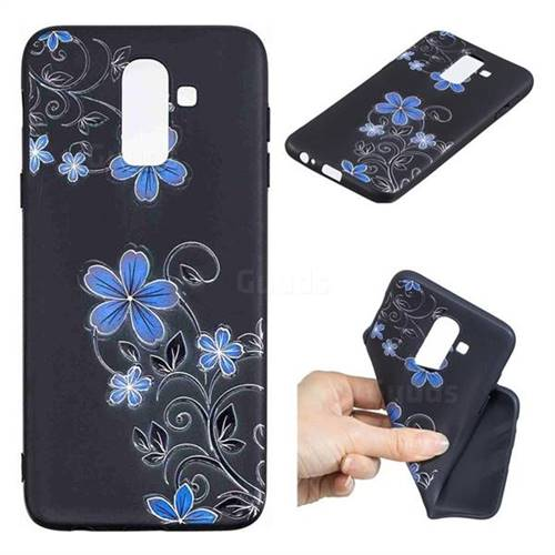 Little Blue Flowers 3D Embossed Relief Black TPU Cell Phone Back Cover for Samsung Galaxy J8