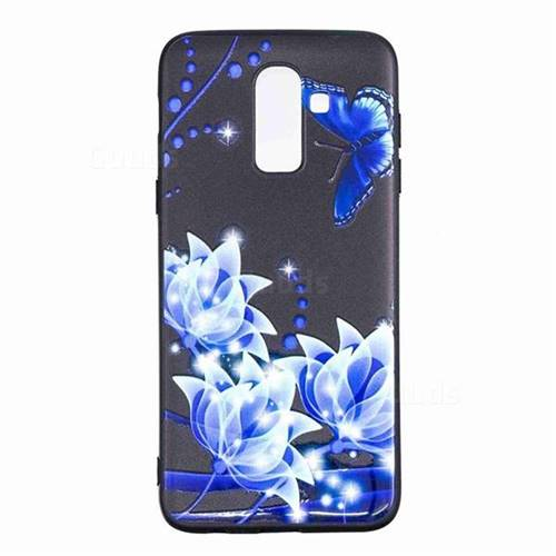 hot sales 294f9 486a7 Blue Butterfly 3D Embossed Relief Black TPU Cell Phone Back Cover for  Samsung Galaxy J8