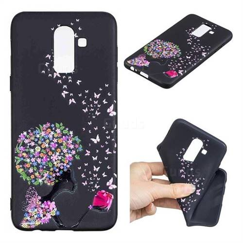 Corolla Girl 3D Embossed Relief Black TPU Cell Phone Back Cover for Samsung Galaxy J8