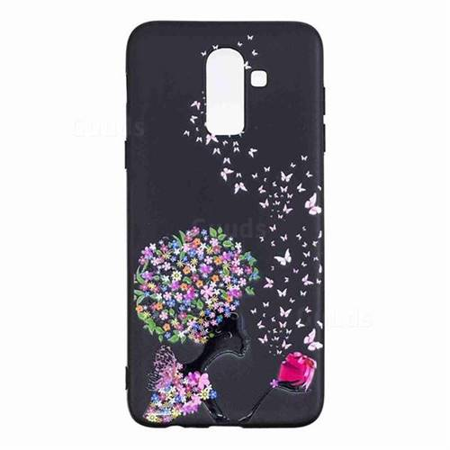 online retailer 213d1 f9707 Corolla Girl 3D Embossed Relief Black TPU Cell Phone Back Cover for Samsung  Galaxy J8