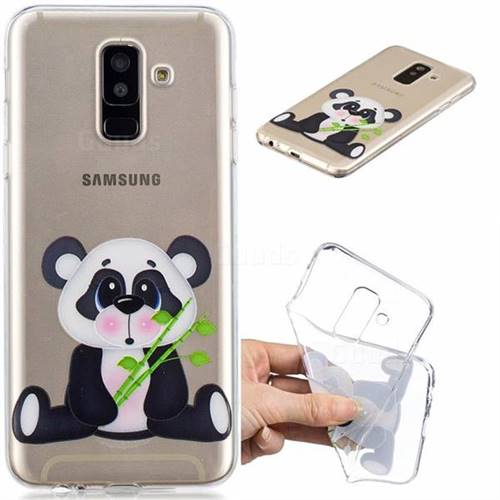 Bamboo Panda Clear Varnish Soft Phone Back Cover for Samsung Galaxy J8