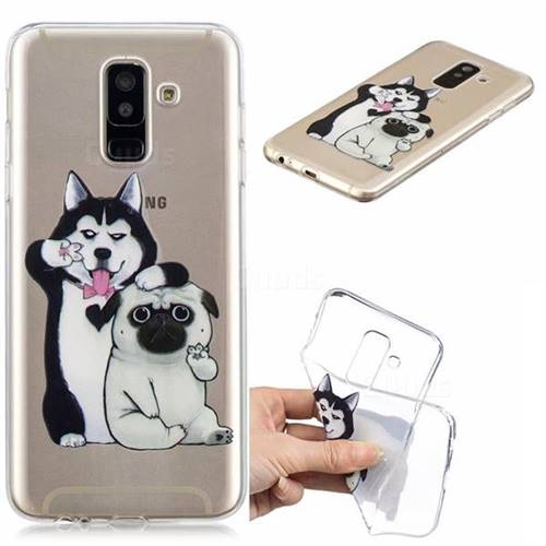 Selfie Dog Clear Varnish Soft Phone Back Cover for Samsung Galaxy J8