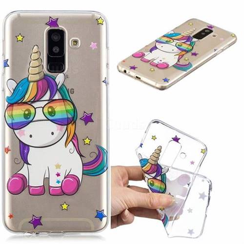 Glasses Unicorn Clear Varnish Soft Phone Back Cover for Samsung Galaxy J8