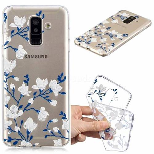 Magnolia Flower Clear Varnish Soft Phone Back Cover for Samsung Galaxy J8