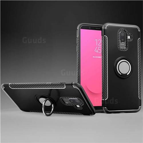 Armor Anti Drop Carbon PC + Silicon Invisible Ring Holder Phone Case for Samsung Galaxy J8 - Black