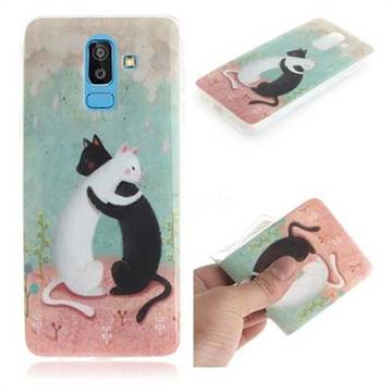 Black and White Cat IMD Soft TPU Cell Phone Back Cover for Samsung Galaxy J8