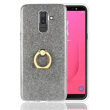 Luxury Soft TPU Glitter Back Ring Cover with 360 Rotate Finger Holder Buckle for Samsung Galaxy J8 - Black