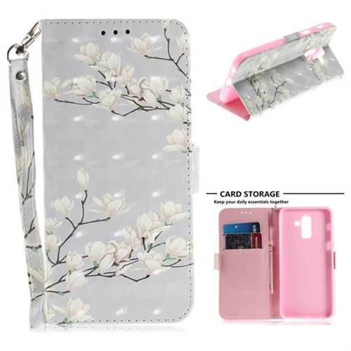 Magnolia Flower 3D Painted Leather Wallet Phone Case for Samsung Galaxy J8