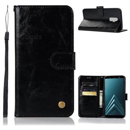 Luxury Retro Leather Wallet Case for Samsung Galaxy J8 - Black