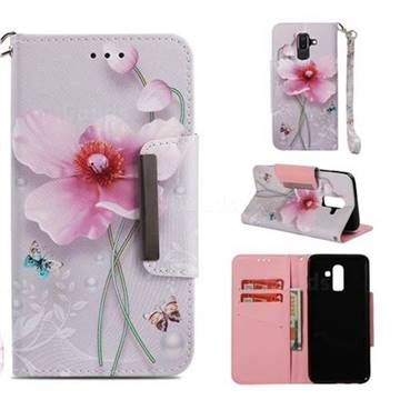 premium selection c2dc2 3880f Pearl Flower Big Metal Buckle PU Leather Wallet Phone Case for Samsung  Galaxy J8