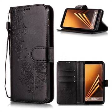 Intricate Embossing Dandelion Butterfly Leather Wallet Case for Samsung Galaxy J8 - Black