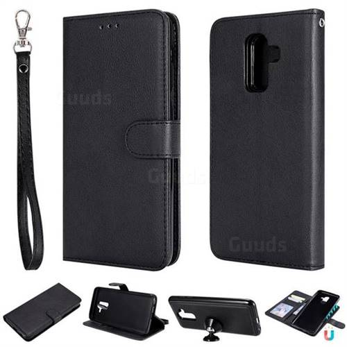 Retro Greek Detachable Magnetic PU Leather Wallet Phone Case for Samsung Galaxy J8 - Black