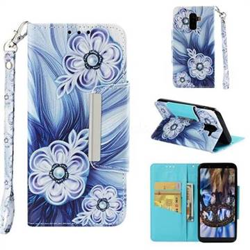 Button Flower Big Metal Buckle PU Leather Wallet Phone Case for Samsung Galaxy J8