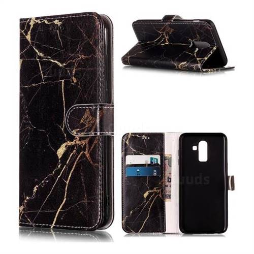 Black Gold Marble PU Leather Wallet Case for Samsung Galaxy J8