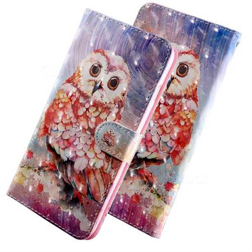 Colored Owl 3D Painted Leather Wallet Case for Samsung Galaxy J8