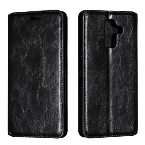 Retro Slim Magnetic Crazy Horse PU Leather Wallet Case for Samsung Galaxy J8 - Black