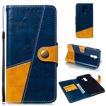 Retro Magnetic Stitching Wallet Flip Cover for Samsung Galaxy J8 - Blue