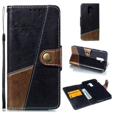 Retro Magnetic Stitching Wallet Flip Cover for Samsung Galaxy J8 - Dark Gray