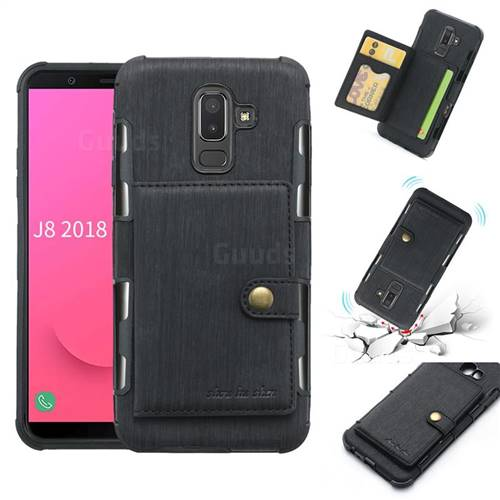 Brush Multi-function Leather Phone Case for Samsung Galaxy J8 - Black