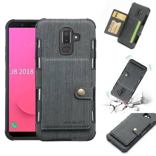 Brush Multi-function Leather Phone Case for Samsung Galaxy J8 - Gray