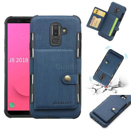 Brush Multi-function Leather Phone Case for Samsung Galaxy J8 - Blue