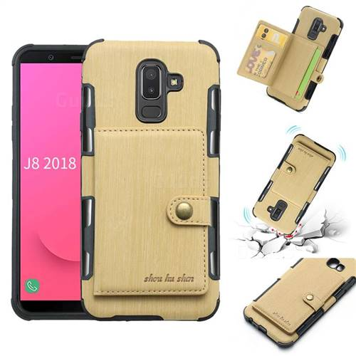 Brush Multi-function Leather Phone Case for Samsung Galaxy J8 - Golden