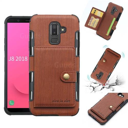 Brush Multi-function Leather Phone Case for Samsung Galaxy J8 - Brown