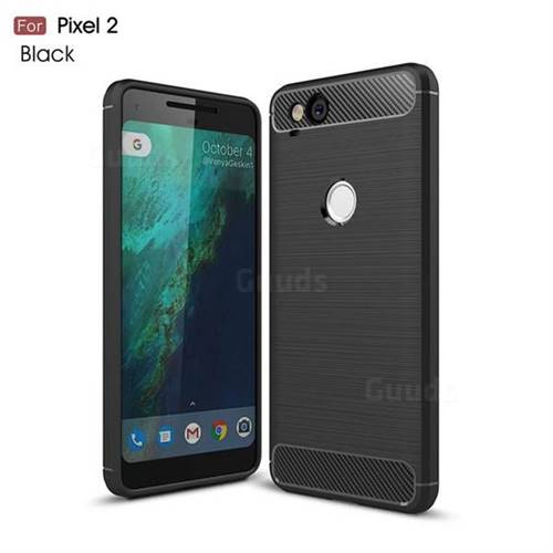 Luxury Carbon Fiber Brushed Wire Drawing Silicone TPU Back Cover for Google Pixel 2 (Black)