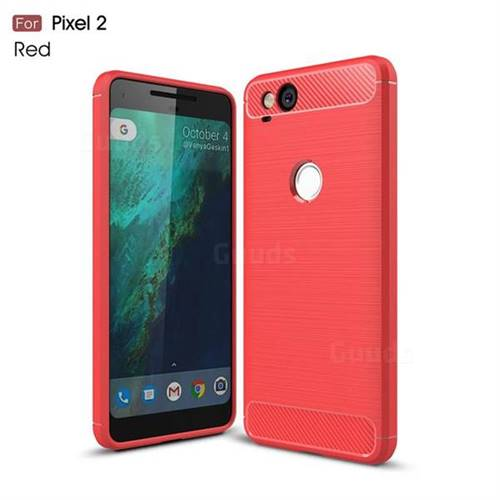 Luxury Carbon Fiber Brushed Wire Drawing Silicone TPU Back Cover for Google Pixel 2 (Red)