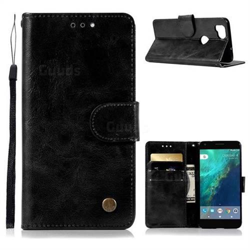 Luxury Retro Leather Wallet Case for Google Pixel 2 - Black