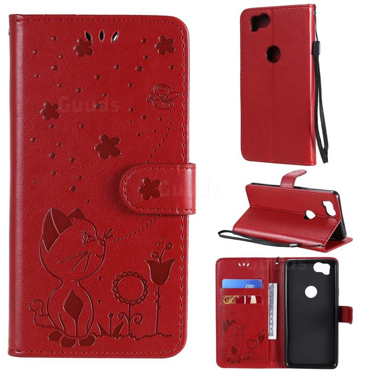 Embossing Bee and Cat Leather Wallet Case for Google Pixel 2 - Red