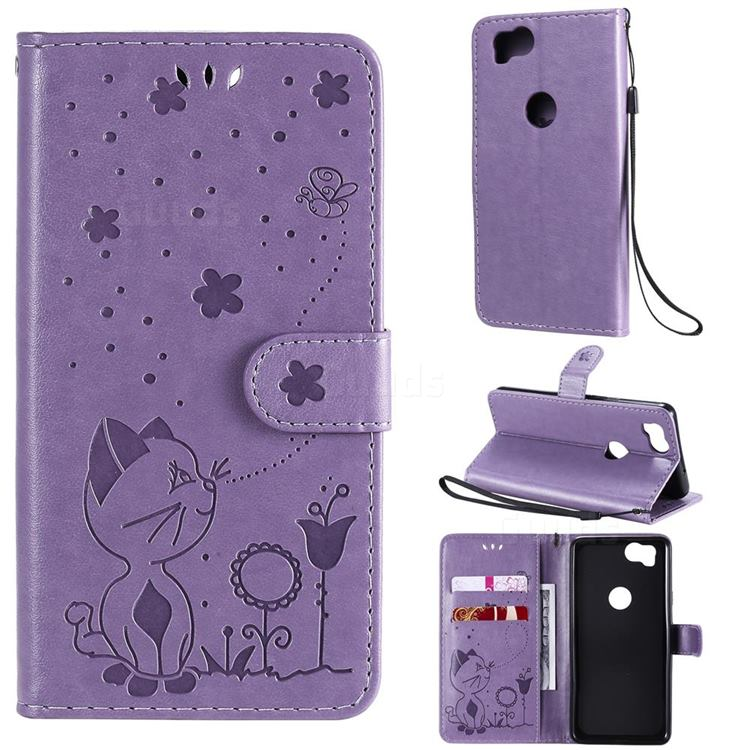 Embossing Bee and Cat Leather Wallet Case for Google Pixel 2 - Purple